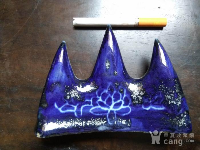 清代宝石蓝釉 笔架山图3
