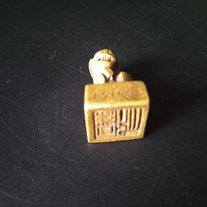老精铜狮纽押章 文房佳品