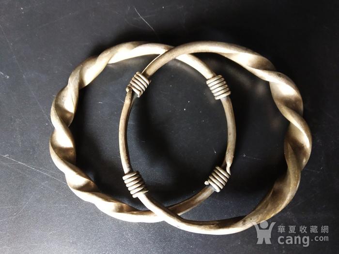 清代 绳纹银饰手镯图5