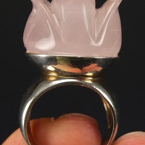 国外回流天然粉水晶玫瑰花戒指