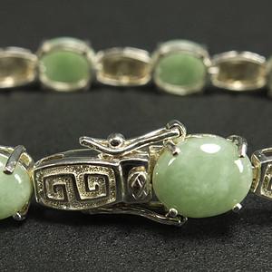 国外回流 925银 天然A绿色翡翠手链