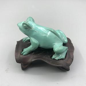 民国 绿松石制青蛙摆件 带原配木座