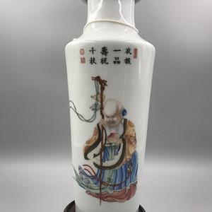 民国珐琅彩精品  百寿图棒槌瓶