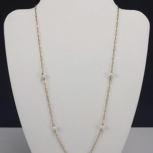 14K金镶嵌天然珍珠 镂空雕项链