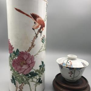 晚清花鸟帽筒和民国茶碗
