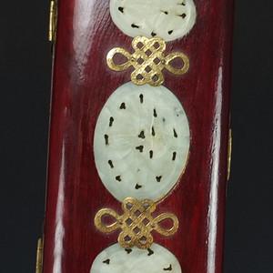天然玉镶嵌包铜硬木文房箱