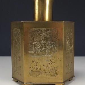 清晚 堑花龙纹茶叶黄铜壶