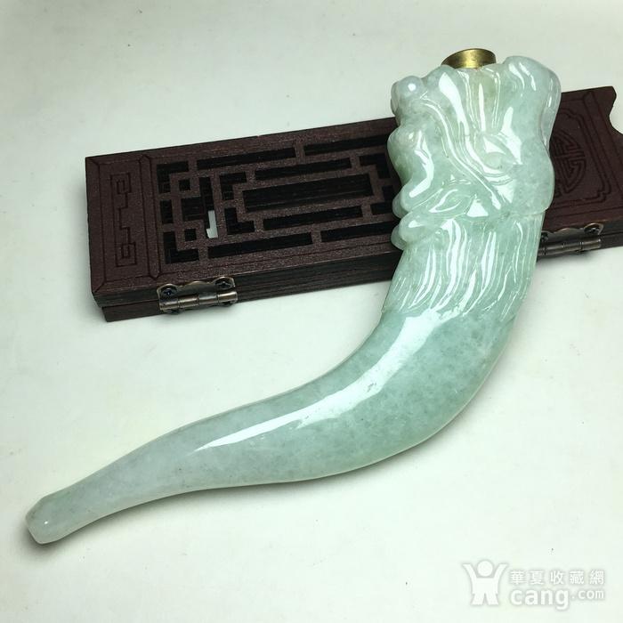 冰种翡翠A货龙头烟嘴图5