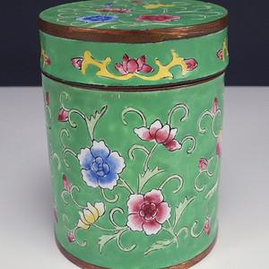 国外回流铜胎珐琅彩 茶叶罐