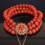 14k金 天然红珊瑚手链