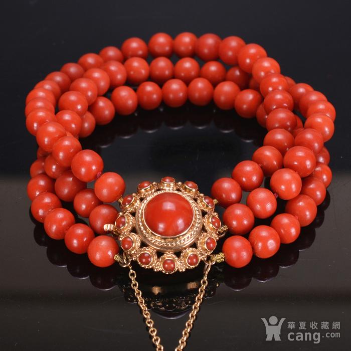 14k金 天然红珊瑚手链图1