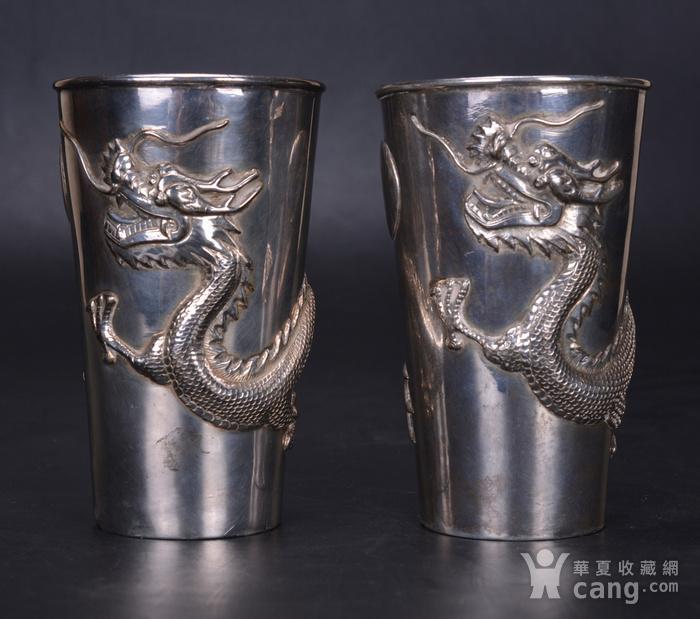 晚清 银雕龙杯一对图1