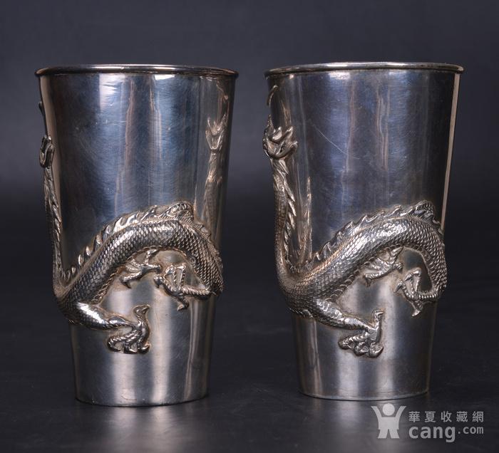 晚清 银雕龙杯一对图2