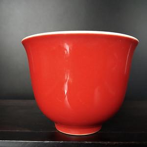 海外回流 红釉杯