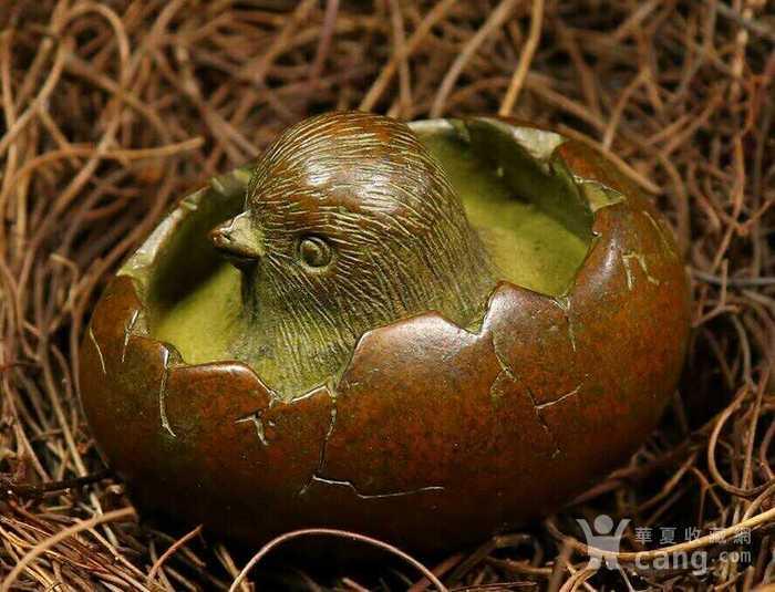 精品铜雕小鸡破壳而出摆件图2
