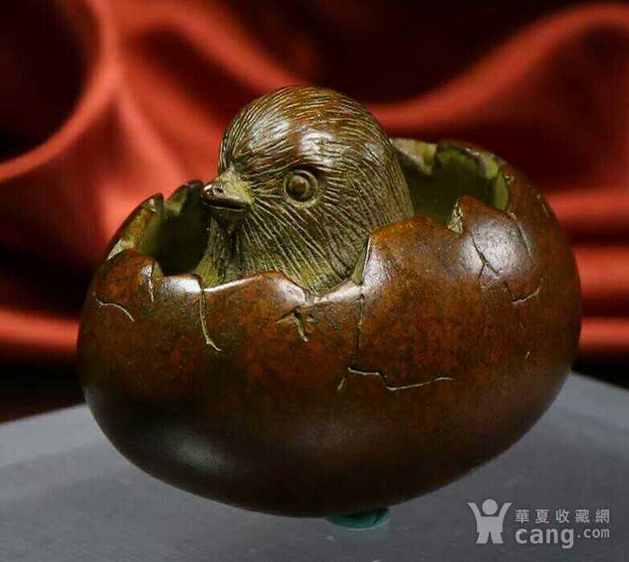 精品铜雕小鸡破壳而出摆件图4