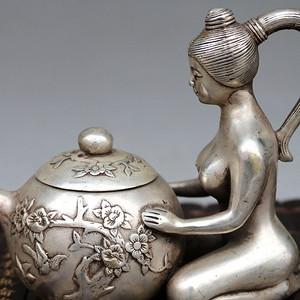 白铜镀银侍女壶水壶茶壶酒壶摆件