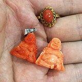 天然红珊瑚吊坠戒指