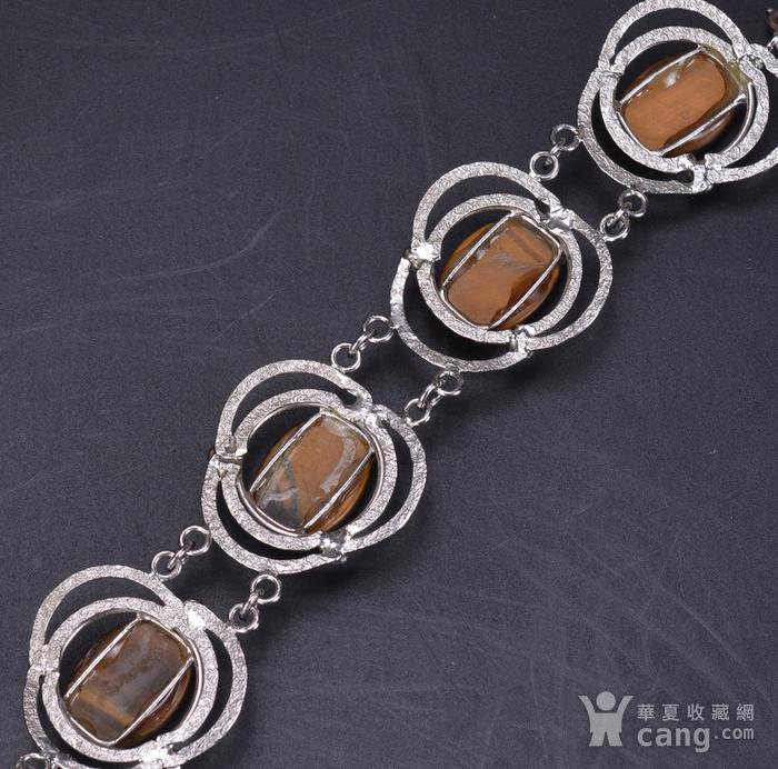 精美 天然宝石 银手链图8