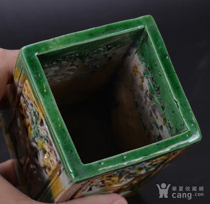 清 三彩 四方笔筒图8