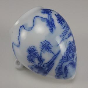 文革文革时期薄胎青花鸟食罐