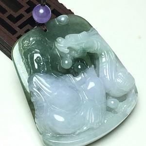 冰种俏色紫底油青观音龙牌