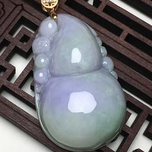 紫罗兰翡翠A货精美葫芦挂件