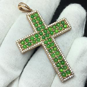 冰种满绿翡翠A货十字架挂件 镶银