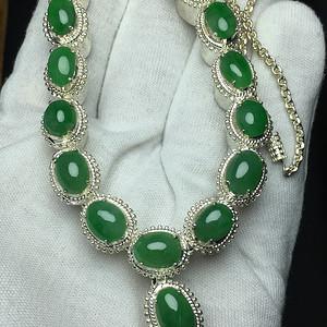 压轴 满绿翡翠A货项链铜托