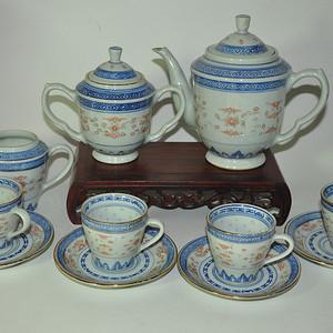 80年代玲珑瓷茶具一套