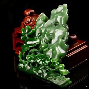 和田玉俄碧  荷摆件 白加绿老料雕刻  荷塘春色太湖石  大师精品收藏