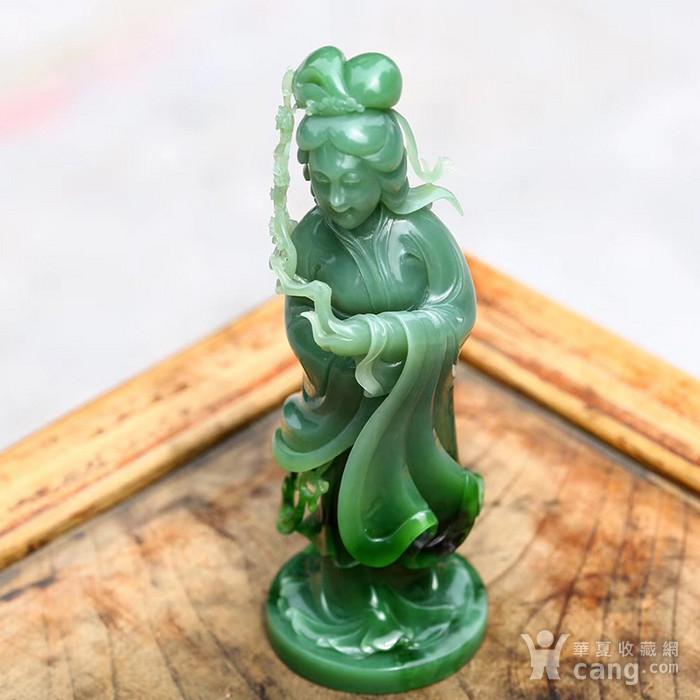 和田玉俄料碧玉  侍女摆件 一体雕刻  家居摆放收藏品图3