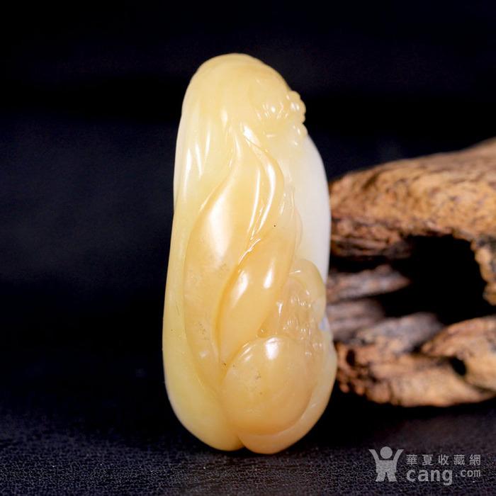 天然正品 苏工精雕 新疆和田玉糖白玉把件 一品清莲图5