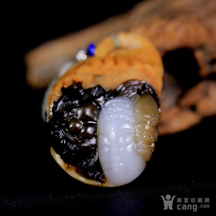 天然正品 苏工油皮巧雕 新疆和田玉籽料白玉吊坠 一念之间图2