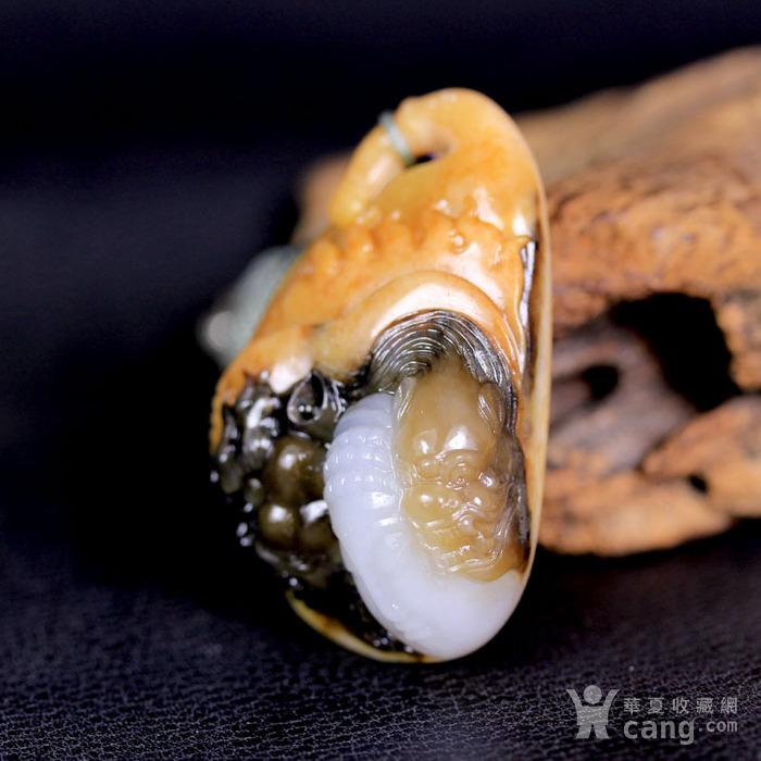 天然正品 苏工油皮巧雕 新疆和田玉籽料白玉吊坠 一念之间图1