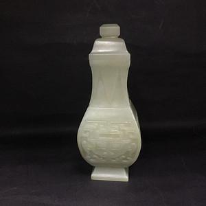 和田玉方形兽面纹盖瓶