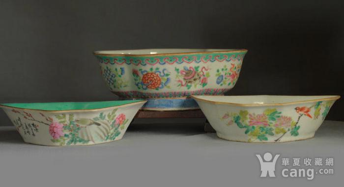 清代粉彩角碗海棠碗三个图1