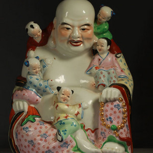 五子登科开心弥勒佛瓷塑摆件 30公分高