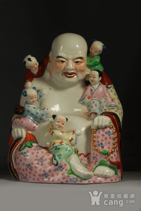 五子登科开心弥勒佛瓷塑摆件 30公分高图1
