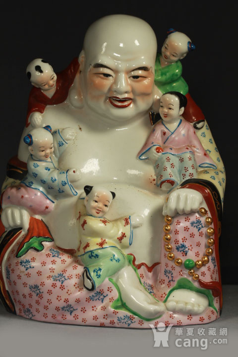 五子登科开心弥勒佛瓷塑摆件 30公分高图3