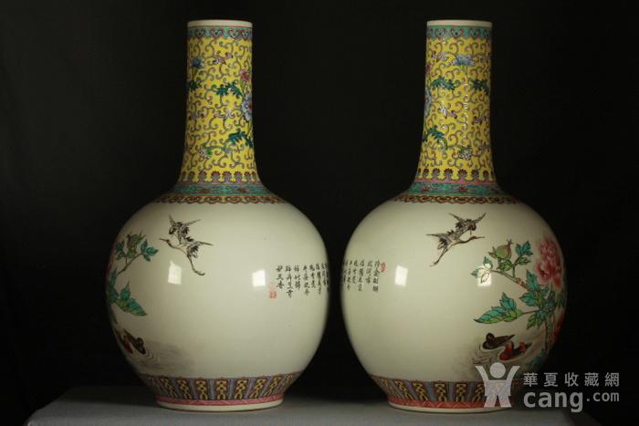 民国粉彩富贵花鸟纹天球瓶一对 43公分高图5