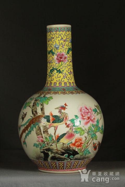 民国粉彩富贵花鸟纹天球瓶一对 43公分高图7
