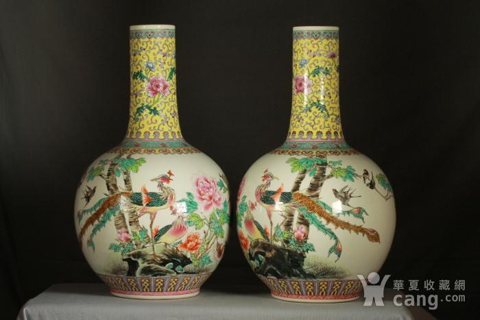 民国粉彩富贵花鸟纹天球瓶一对 43公分高图12