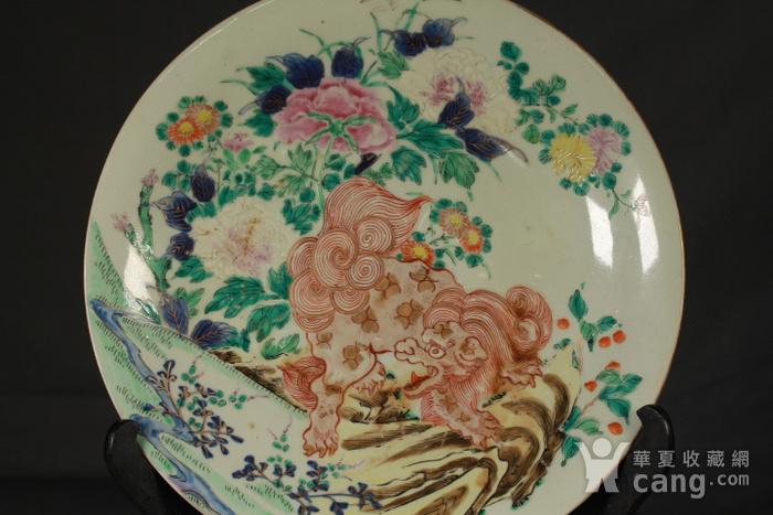 清代粉彩狮穿牡丹纹大盘图3