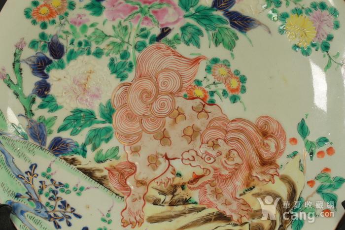 清代粉彩狮穿牡丹纹大盘图4