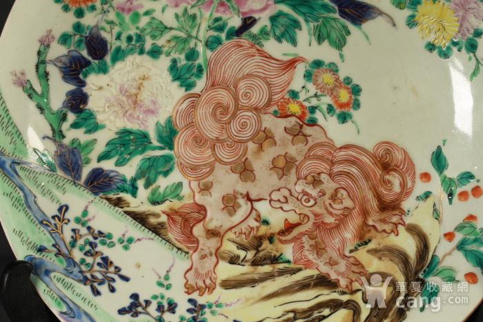 清代粉彩狮穿牡丹纹大盘图6