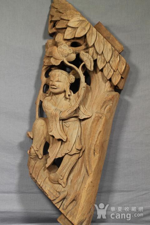 清代持莲童子大木雕 85厘米图4