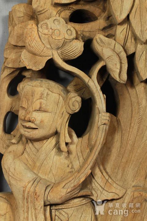 清代持莲童子大木雕 85厘米图8