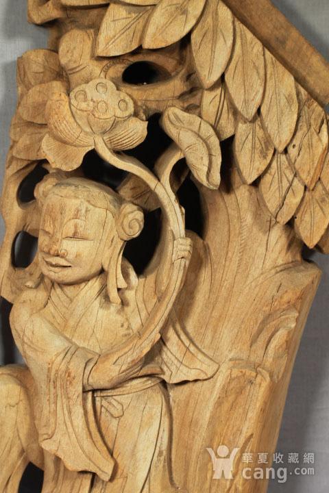 清代持莲童子大木雕 85厘米图9