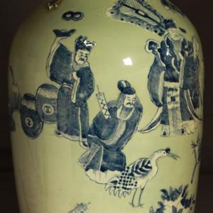 清代细路豆青堆白300件福禄寿喜财纹瓶